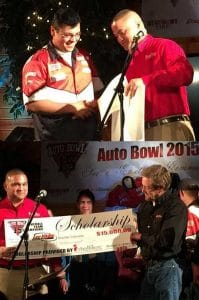 TOP: High School Student Rafael Gallegos Receives Scholarship to IntelliTec College in Colorado Springs for Automotive Technician Training. BOTTOM: Lee Miles Auto Shop receives 2 of 3 college scholarships to IntelliTec College from winning Auto Bowl '15.