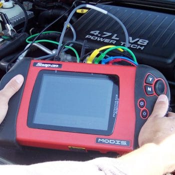 IntelliTec Automotive Technician students use Snap-on diagnostic equipment.