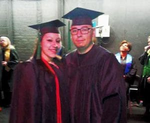Celebrating is a pair of IntelliTec College of Pueblo Medical Assistant program graduates - Valerie Valdex and her husband Michael Ybarra.
