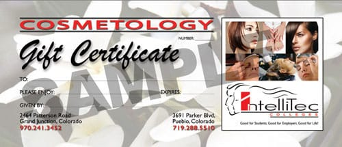Gift Certificate Intellitec Salon Sample