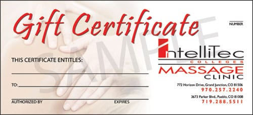Intellitec Clinic Gift Certificate Sample